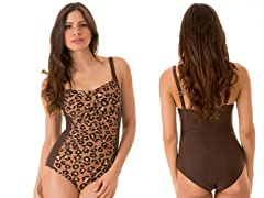 Ocean Jewel Shirred Maillot Swimsuit, Leopard Brown