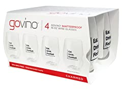 GoVino Football Themed Wine Glasses (4)