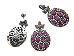 Set of SS Otantic Oval Dyed Ruby Genuine Semi-Precious Gemstone