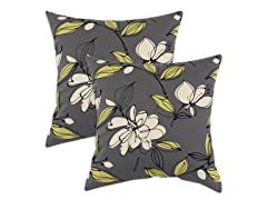 Bremer Graphite 17x17 Pillow-Set of 2