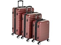 AmazonBasics Hardside Luggage- Red, 3PC