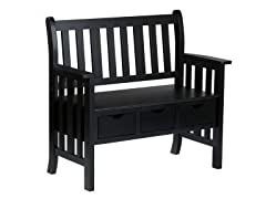 3-Drawer Black Country Bench