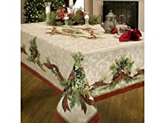 Benson Mills Christmas Ribbons Printed Tablecloth