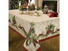 Benson Mills Christmas Ribbons Printed Tablecloth