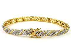 Gold Plated SS Diamond Accent Stripe Bracelet