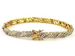 Gold Plated SS Diamond Accent Stripe Bracelet