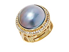 Blue Mabe Pearl CZ Adjustable Ring