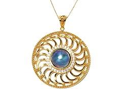 PinWheel Blue Mabe Pearl CZ Pendant
