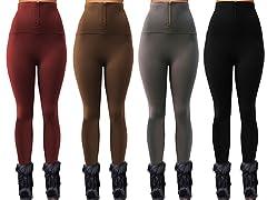 Maze Collections 4-Pack Ladies High Waist Zipper Fleece Legging
