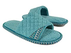 Muk Luks Sally Micro Chenille Open Toe Scuff, Light Teal