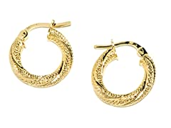 14K Gold Twisted Textured Hoop Earring