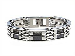Black Carbon Fiber Wire Bracelet