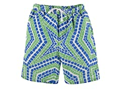 Green Geo Tile Board Shorts (3/6M-9/10Y)