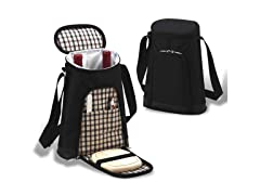 London 2 Bottle Tote with Cheese Set