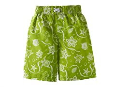 Green Print Swim Short (Sizes 3T-4T)
