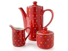 Classic Coffee & Tea Polka Dot Set
