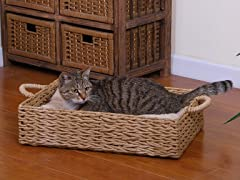 Paper Rope Boxed Cat Bed with Pillow