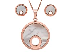 18kt Rose Gold Plated Round MOP Set