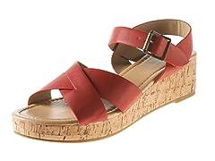 Carrini Criss-Cross Wedge Sandal, Red