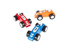 Wooden Toy Race Car Set- 3 Colorful Racecars