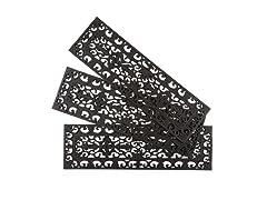 Set of 3 Fleur de Lis Tread Recycled Rubber Stair Doormats