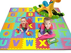 36-Piece Alphabet and Number Puzzle Mat