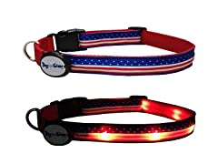 "American Flag LED Dog Collar, Med (10""-15"")"