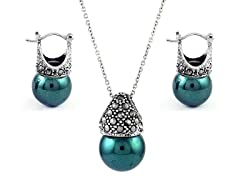 SS Marcasite Green Cultured Freshwater Pearl Earring & Necklace Set