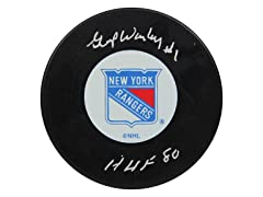 Gump Worsely Rangers Signed Puck, HOF 80