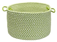 Houndstooth Storage Basket - Lime (2 Sizes)