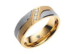 14k Gold Plated Steel Striped CZ Ring