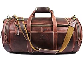 Leather Travel Duffel Bag, 2 Styles