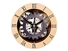 "12"" Moving Gear Wall Clock w/Wooden Dial Ring"