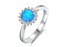 Lab Created Opal And CZ Halo Ring