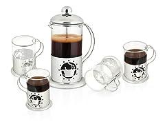 5-Piece Set: French Press Coffee & Tea Pot