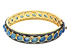 18K Gold-Plated SS Chalcedony Semi-Precious Gemstone Bangle