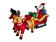 7' Santa Two Reindeer Sleigh