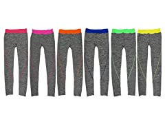 6Pk Solid Color Sports Leggings