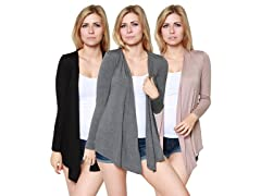 Free to Live 3-Pack Open Front Cardigan