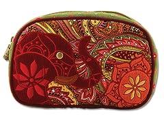 Boho Elephant Cosmetic Bag, Red