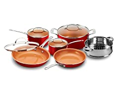 10-Piece Cookware Set, Black or Red