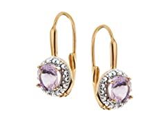 18K Gold SS Amethyst Gemstone w/Diamond Leverback Earrings