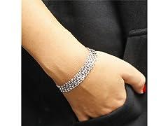 Silver 4-Row Chain Link Bracelet