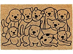 Printed Coir Welcome Mat, Dogs