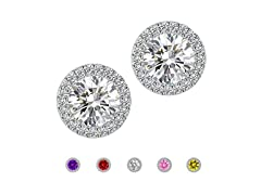 Cubic Zirconia Stud Halo Earrings for Women
