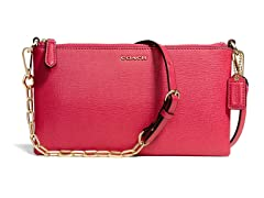 Coach Saffiano Kylie Crossbody - Light Gold/Pink Scarlet