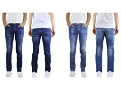 Straight Leg Washed Stretched Jeans 2Pk