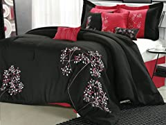 Pink Floral 8Pc Comforter Set - Black - 2 Sizes