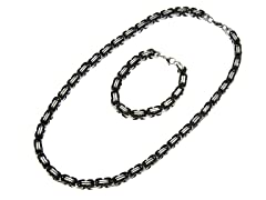 2-Tone Black Byzantine Bracelet & Necklace
