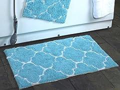 2 Piece-Moroccan Trellis 100% Cotton Bath Rug Set